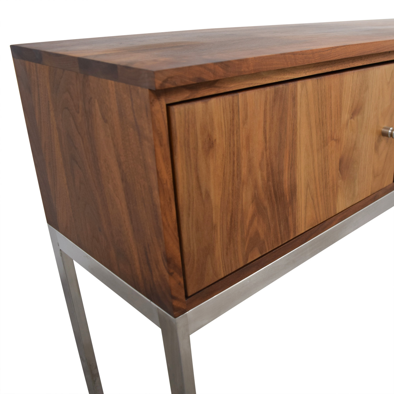 Room Board Linear Walnut And Steel Storage Cabinet
