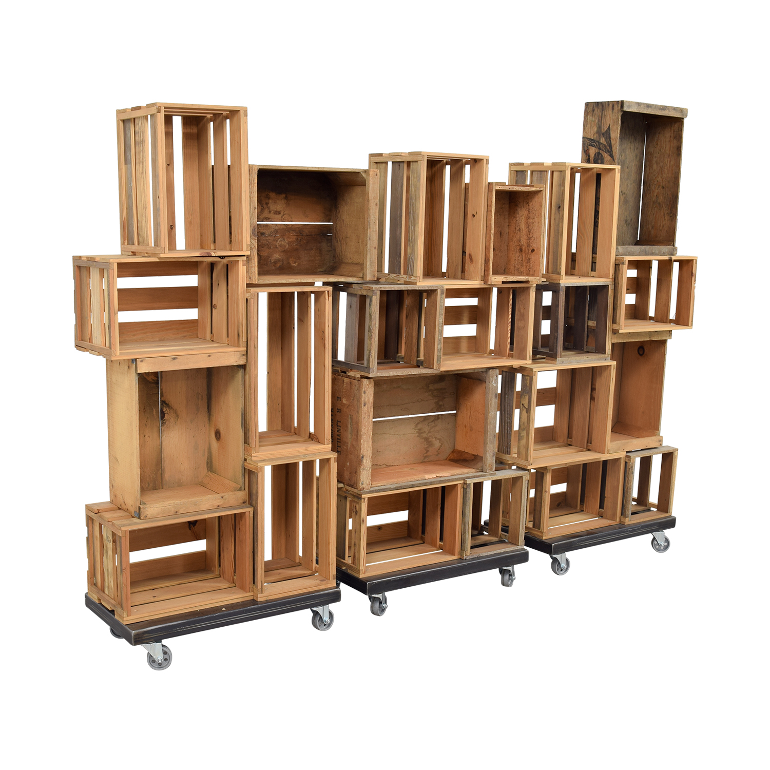 buy Colin Burton Designs Custom Apple Crate Bookshelves on Steel Base Casters Colin Burton Designs Storage