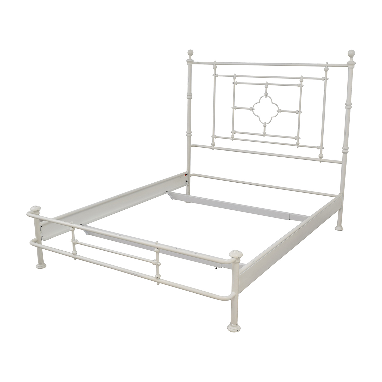 Restoration Hardware White Metal Queen Bed Frame / Beds