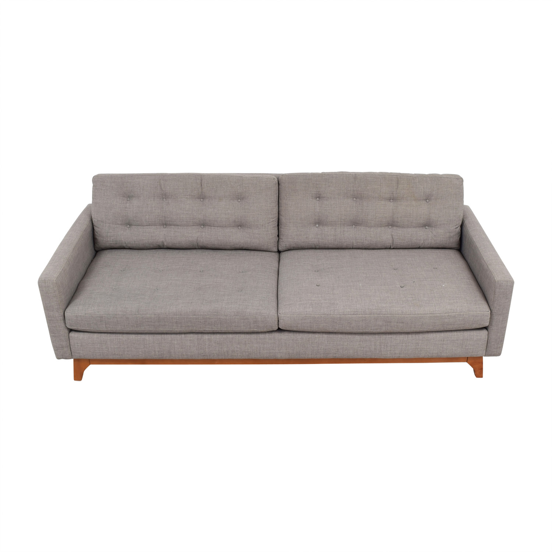 Macys Mid-Century Karlie Grey Tufted Sofa sale