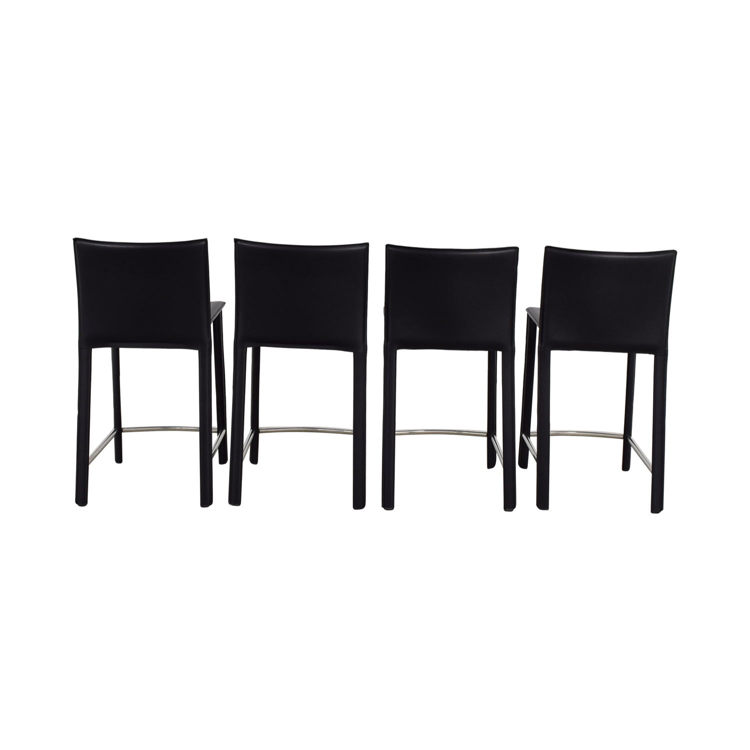 Aurelle Home Classic Black Italian Leather Counter Stools / Stools