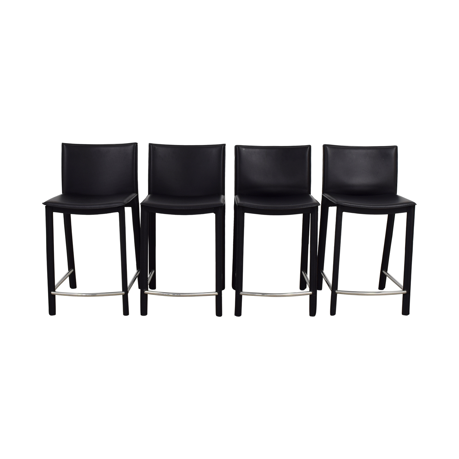 buy Aurelle Home Classic Black Italian Leather Counter Stools Aurelle Home Stools