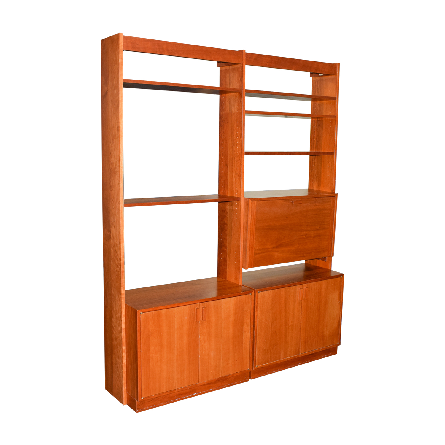 Charles Webb Cherry Wood Bookshelf Wall Unit with Desk sale