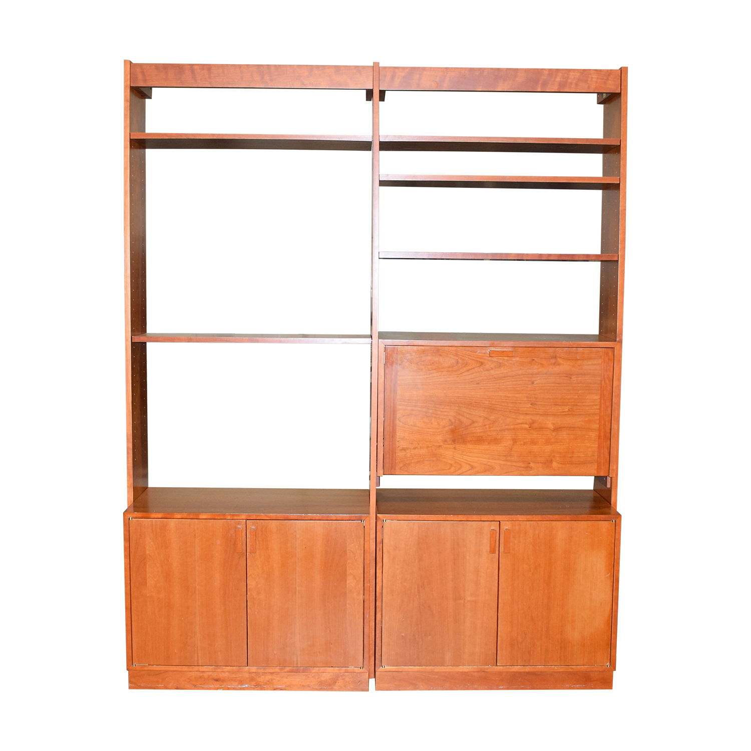 shop Charles Webb Cherry Wood Bookshelf Wall Unit with Desk Charles Webb Bookcases & Shelving