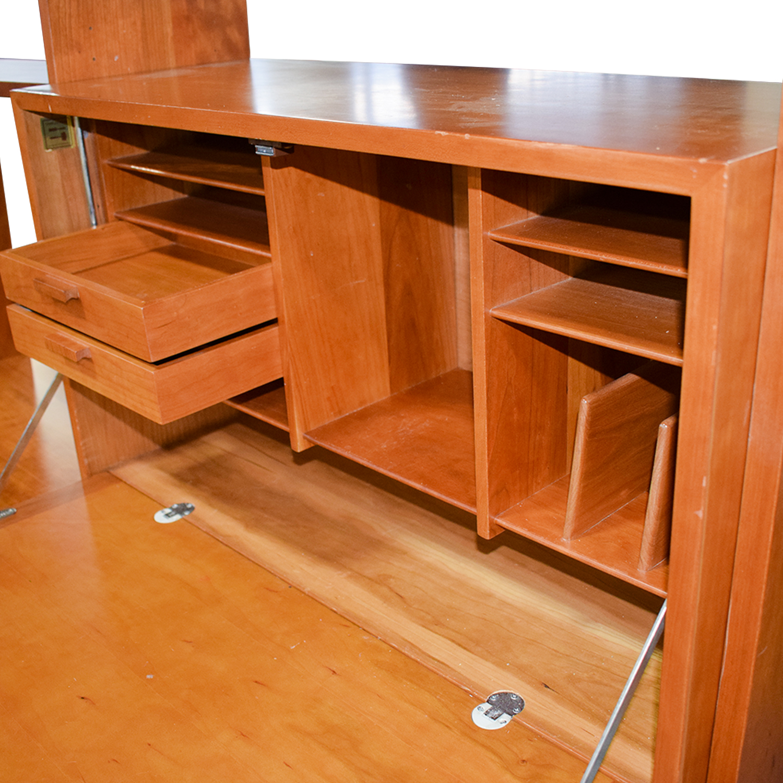 Charles Webb Charles Webb Cherry Wood Bookshelf Wall Unit with Desk for sale