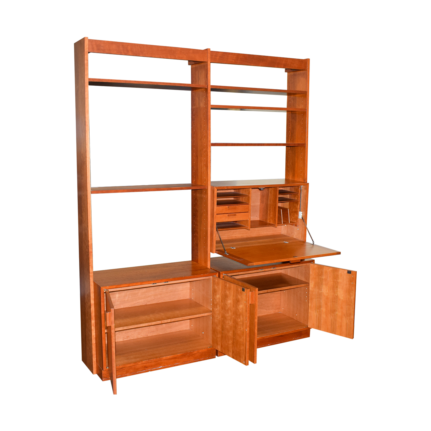 barrel wayfair bookcase bookcases and hutch shelf table desk studio with corner red furniture pdx hillsdale
