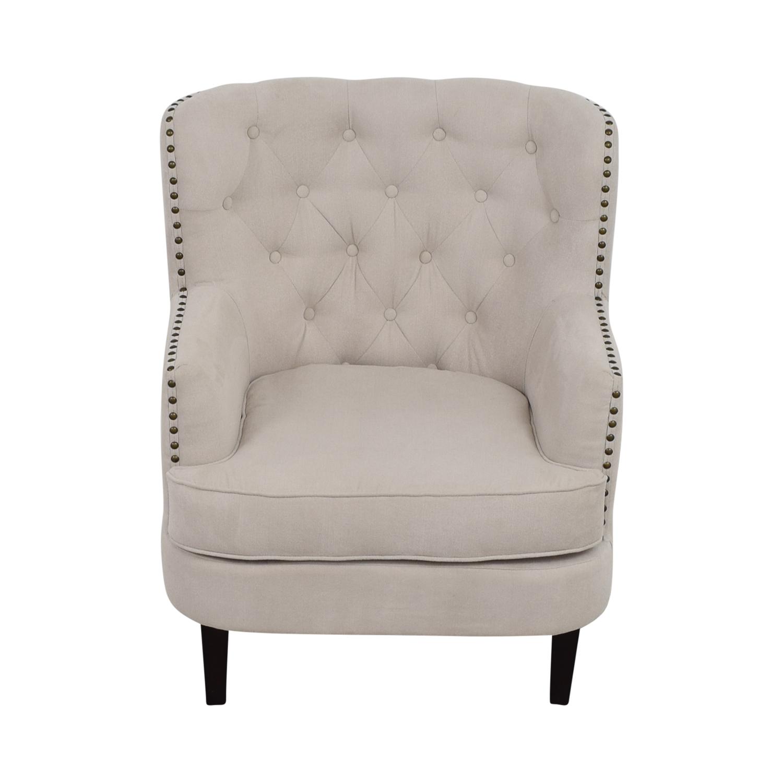West Elm West Elm Chrisanna Beige Tufted Nailhead Wingback Chair