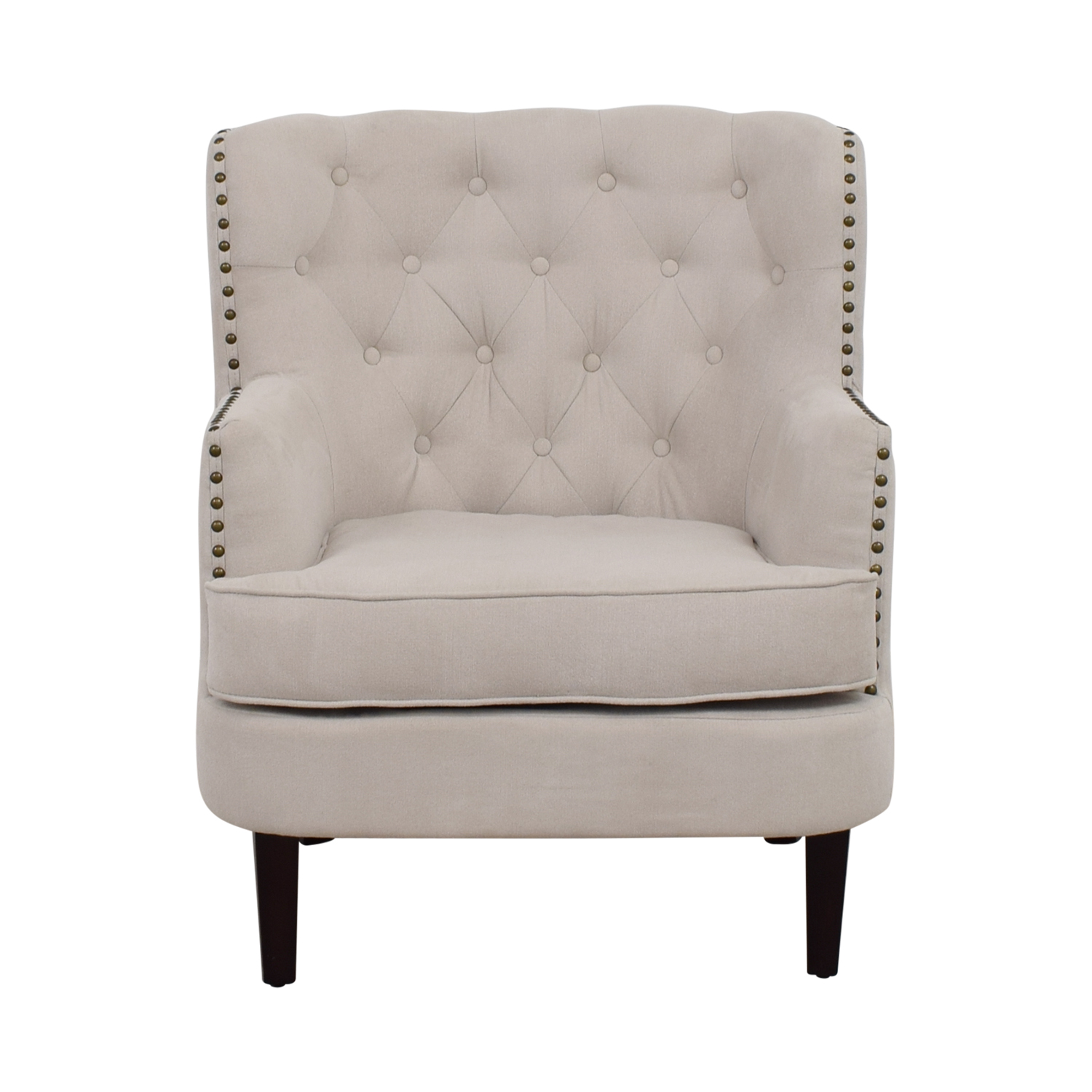 buy West Elm Chrisanna Beige Tufted Nailhead Wingback Chair West Elm Accent Chairs