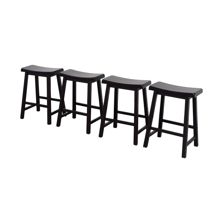 Rectangular Wood Bar Stools black