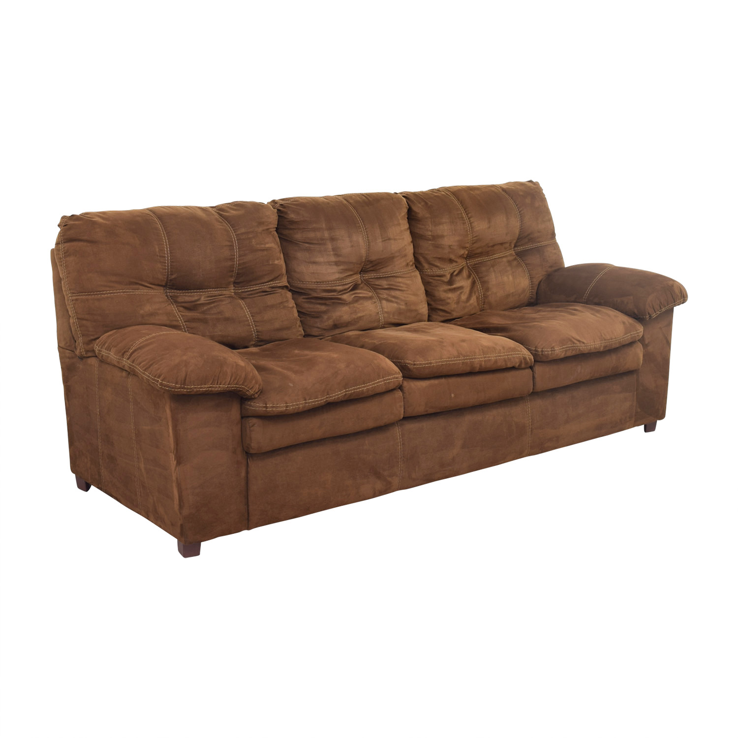 Brown Three-Cushion Pillowed Arms Sofa