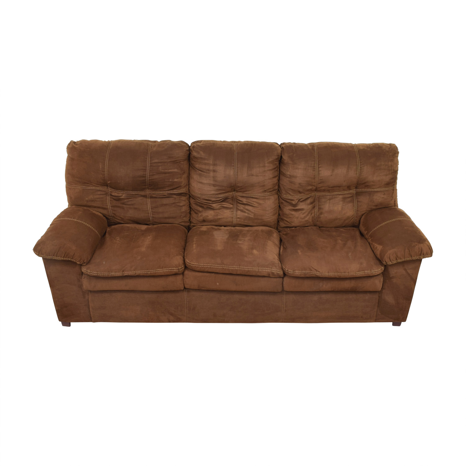 buy  Brown Three-Cushion Pillowed Arms Sofa online