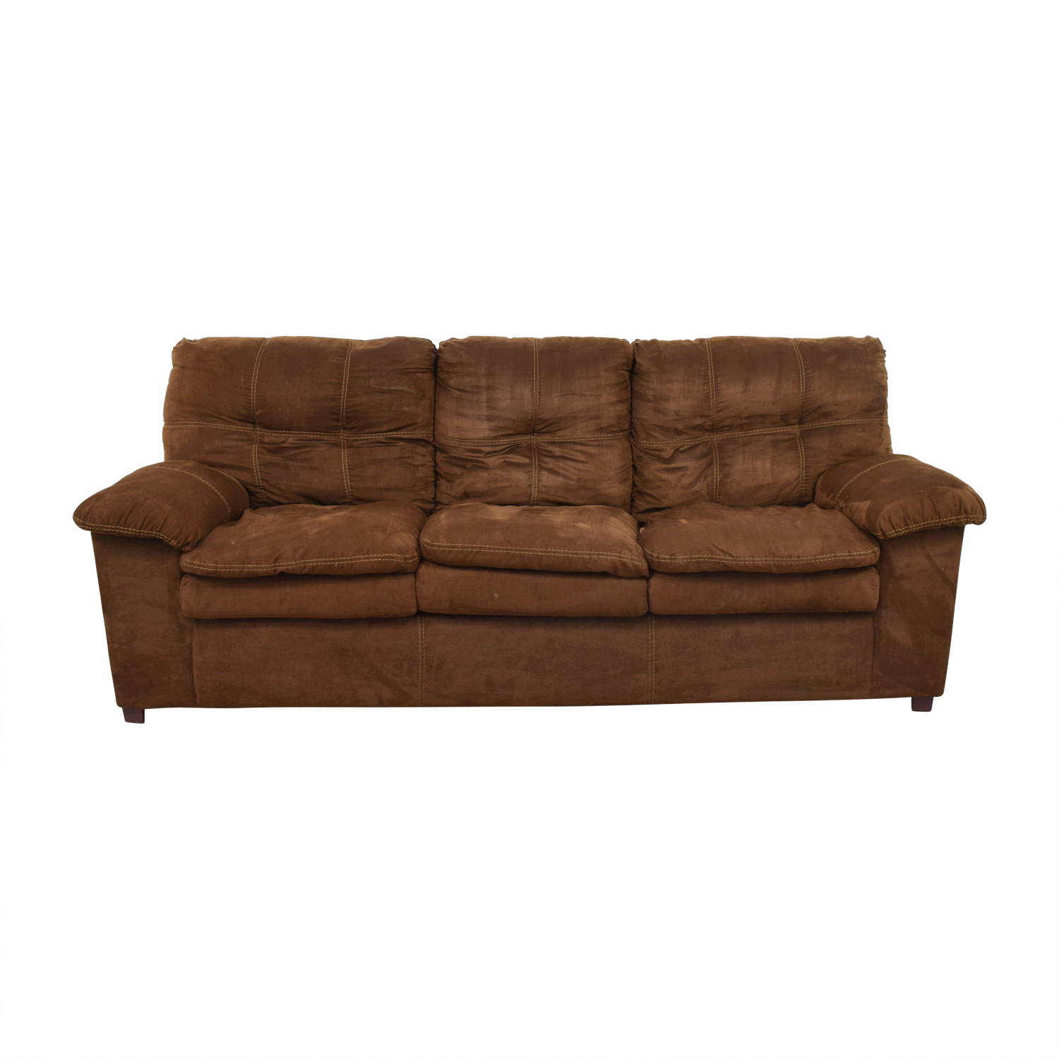 Brown Three-Cushion Pillowed Arms Sofa on sale