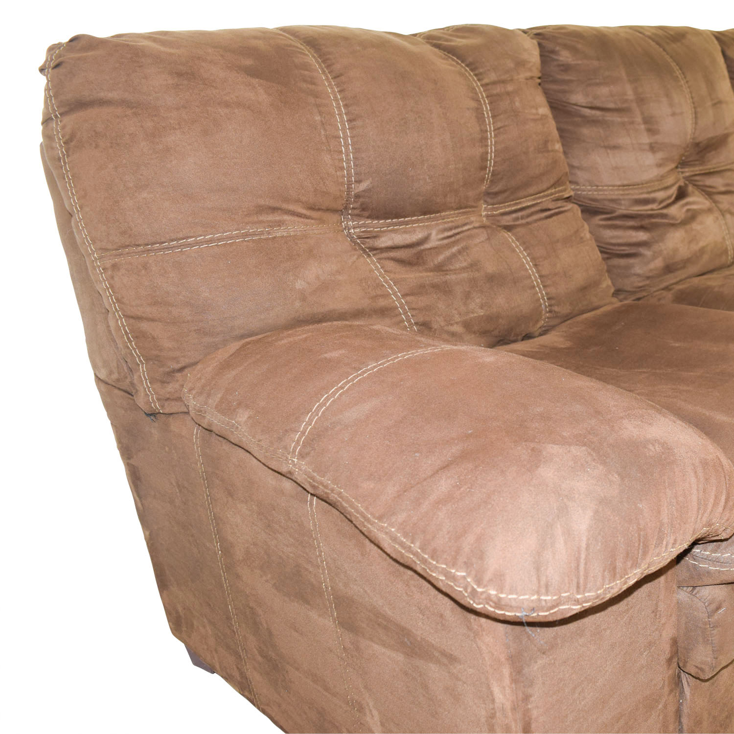 buy Brown Three-Cushion Pillowed Arms Sofa