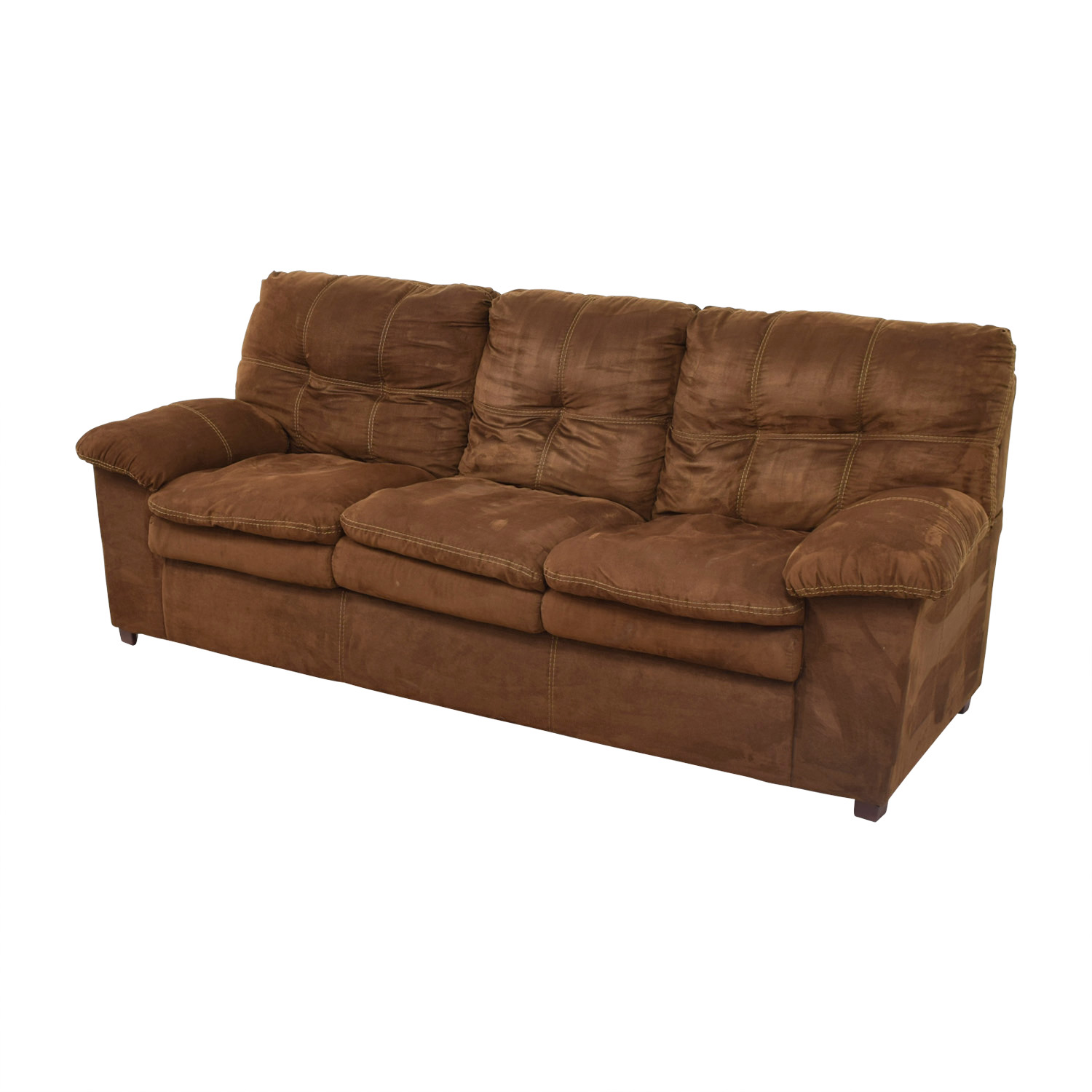 Brown Three-Cushion Pillowed Arms Sofa Sofas