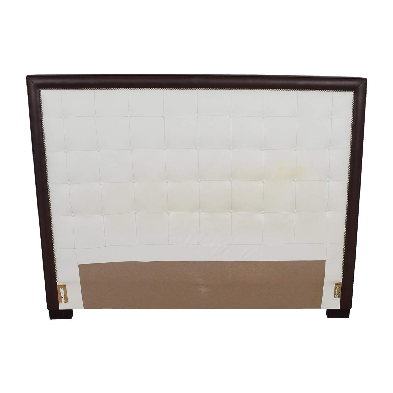 66 Off Custom White Tufted Leather Nailhead And Wood