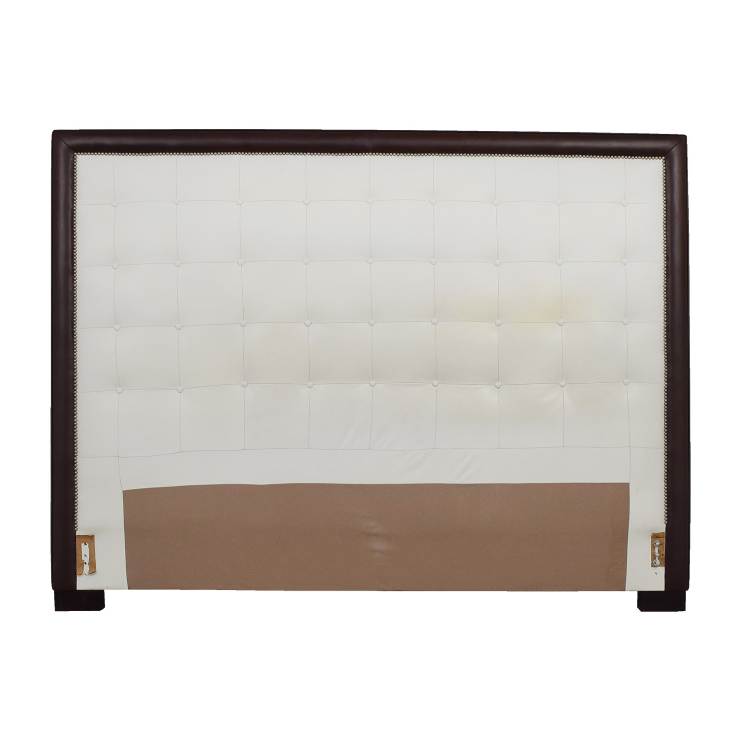 Custom White Tufted Leather Nailhead And Wood King Headboard Second Hand