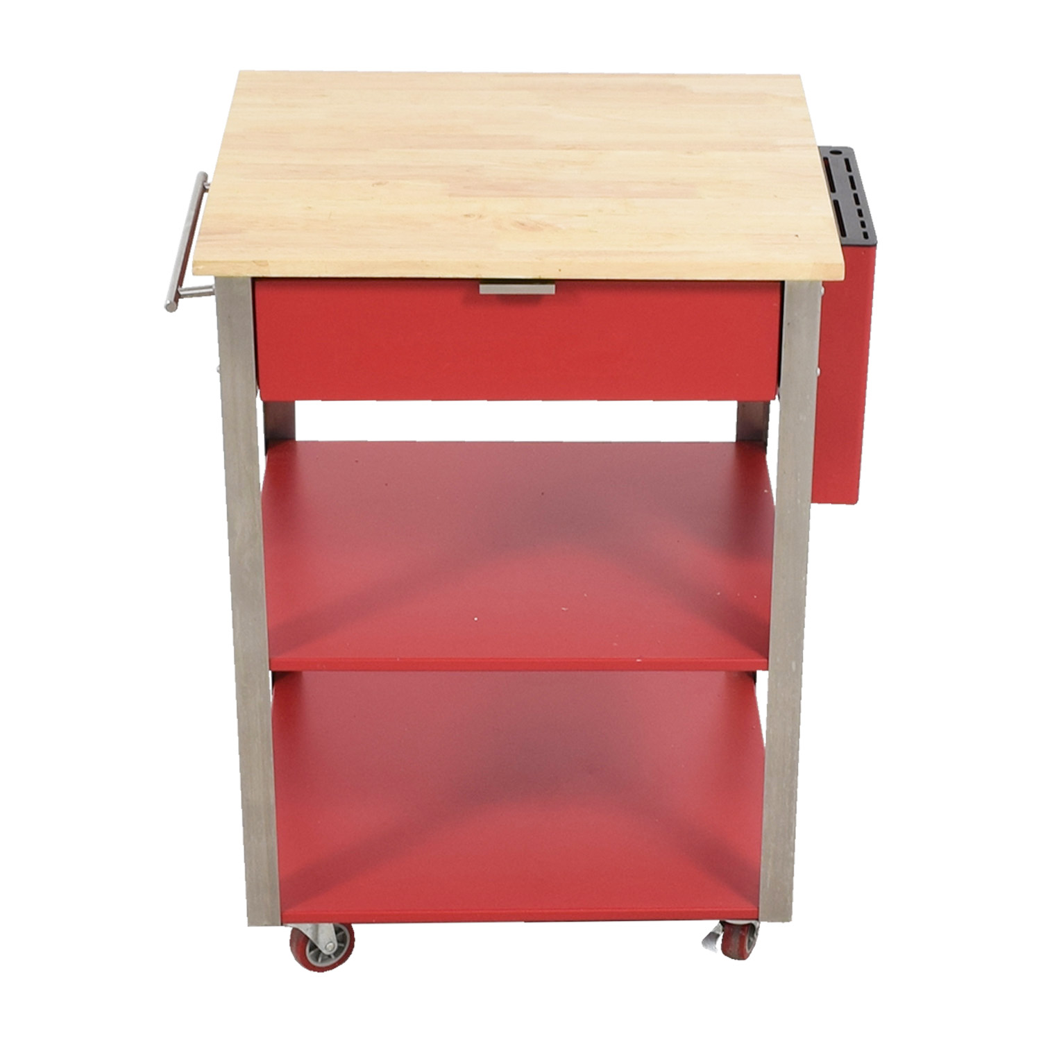 Crossley Crossley Red Metal and Wood Kitchen Island coupon