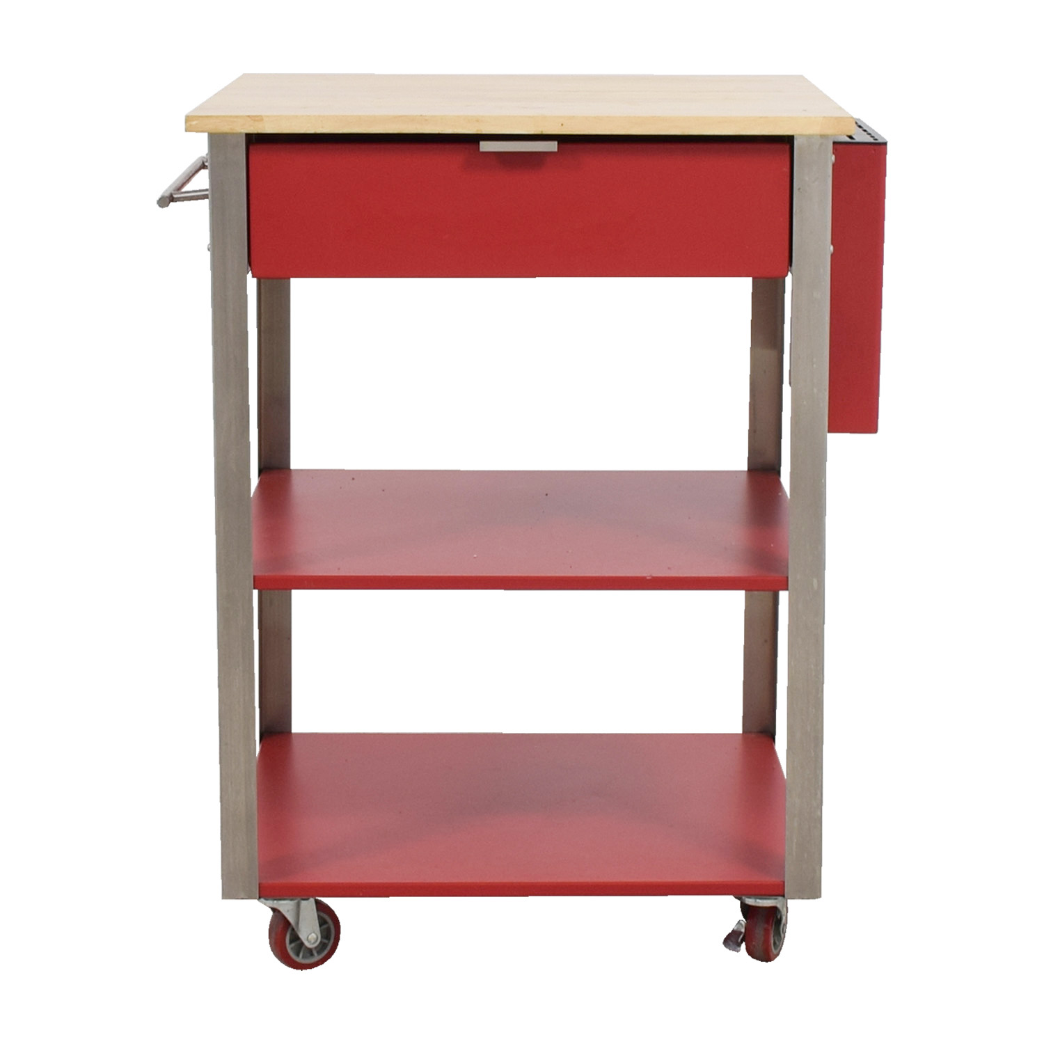 Crossley Crossley Red Metal and Wood Kitchen Island second hand