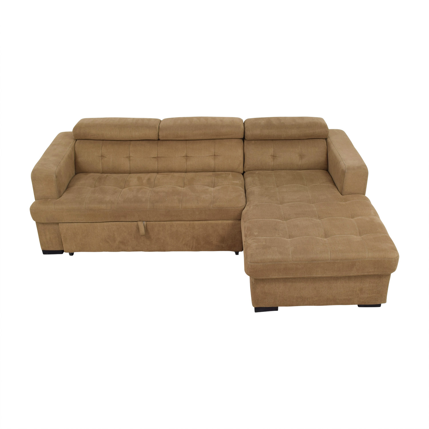 shop Bobs Furniture Brown Pull Out with Chaise Storage Bobs Furniture