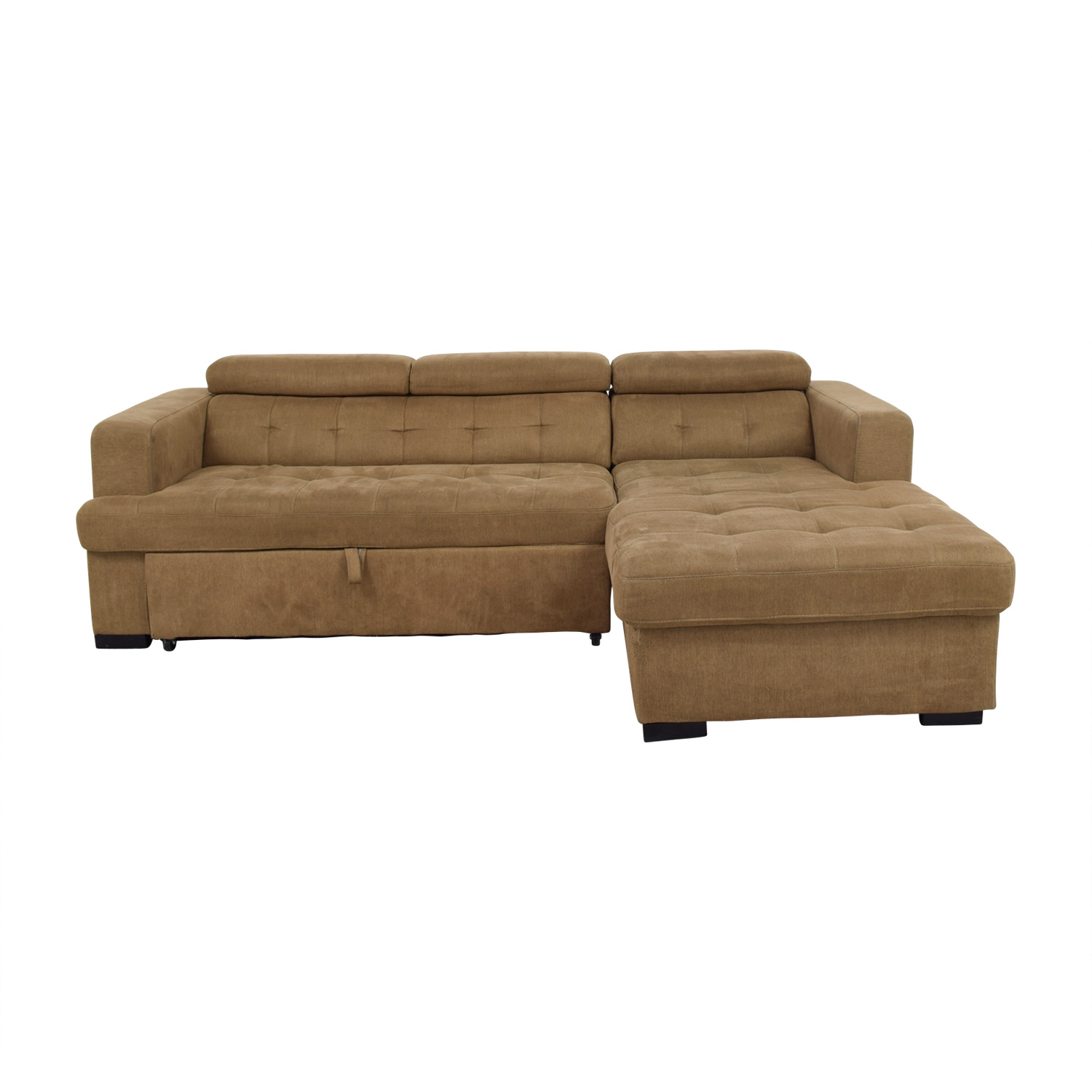 Bobs Furniture Brown Pull Out with Chaise Storage Bobs Furniture