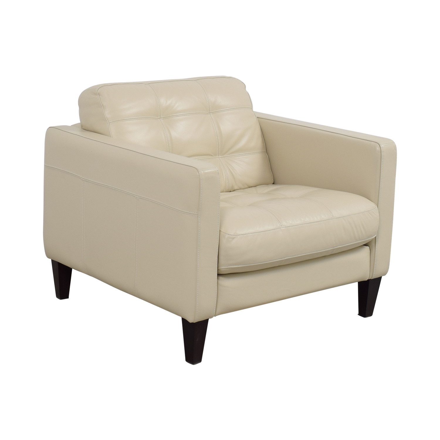 48% OFF - Macy\'s Macy\'s Milano White Leather Tufted Accent Chair / Chairs