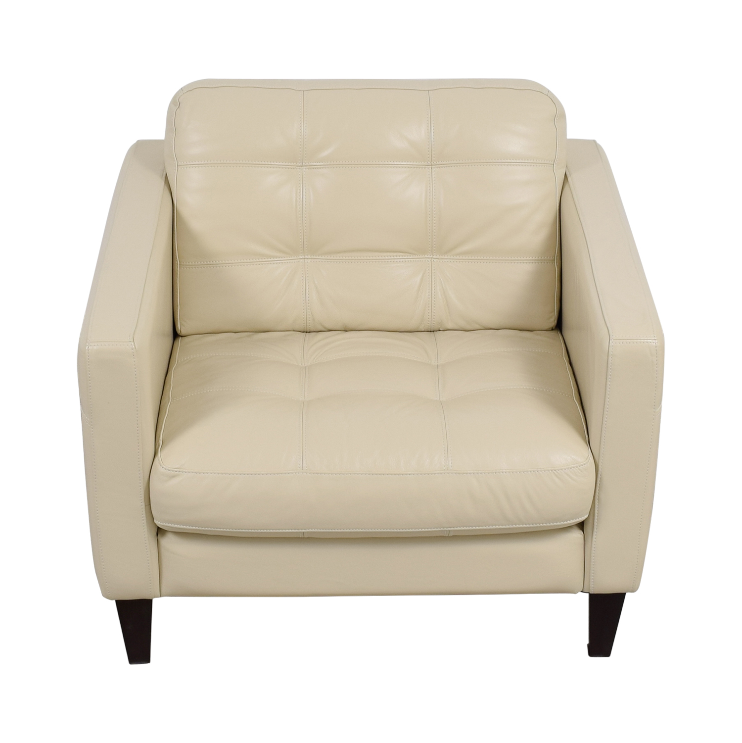 Macys Macys Milano White Leather Tufted Accent Chair