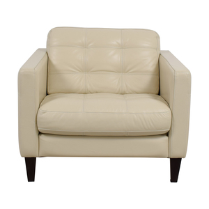 shop Macy's Milano White Leather Tufted Accent Chair Macy's