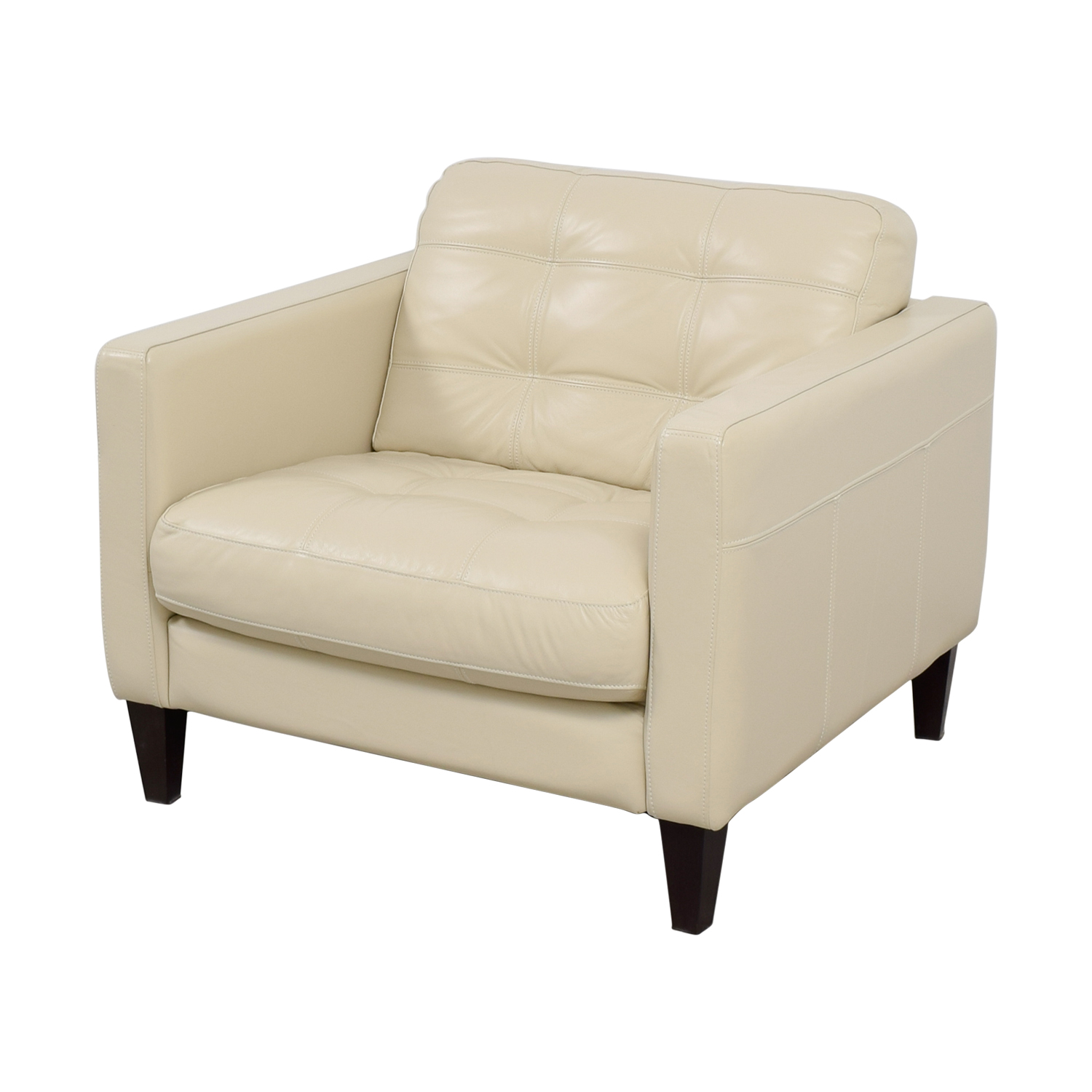 48 off macy 39 s macy 39 s milano white leather tufted accent. Black Bedroom Furniture Sets. Home Design Ideas