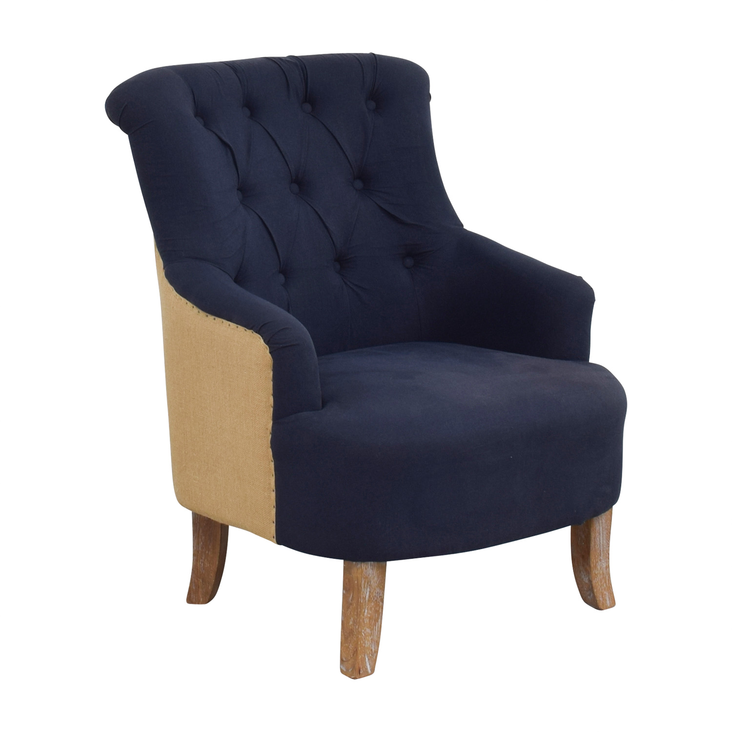 61% OFF   Pier 1 Pier 1 Imports Blue And Tan Tufted Armchair / Chairs