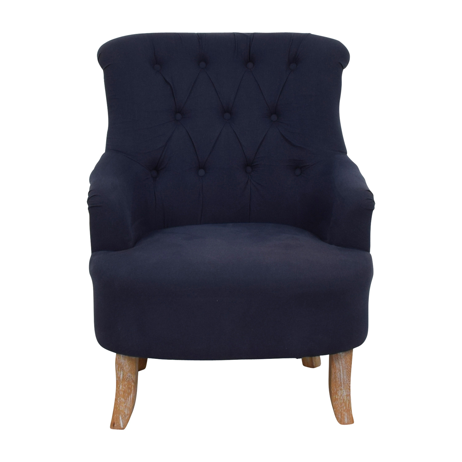 Pier 1 Imports Pier 1 Imports Blue and Tan Tufted Armchair Accent Chairs