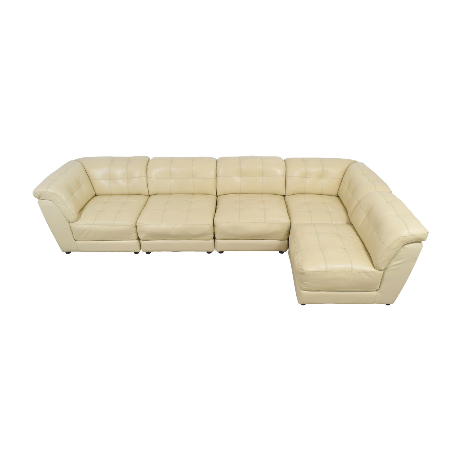 Raymour & Flannigan Raymour & Flannigan White Leather  Sectional nj