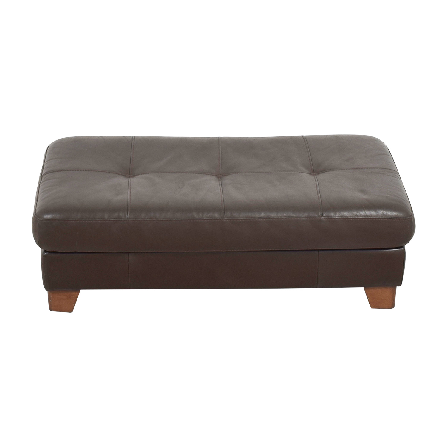 Bloomingdale's Bloomingdale's Brown Leather Tufted Ottoman price