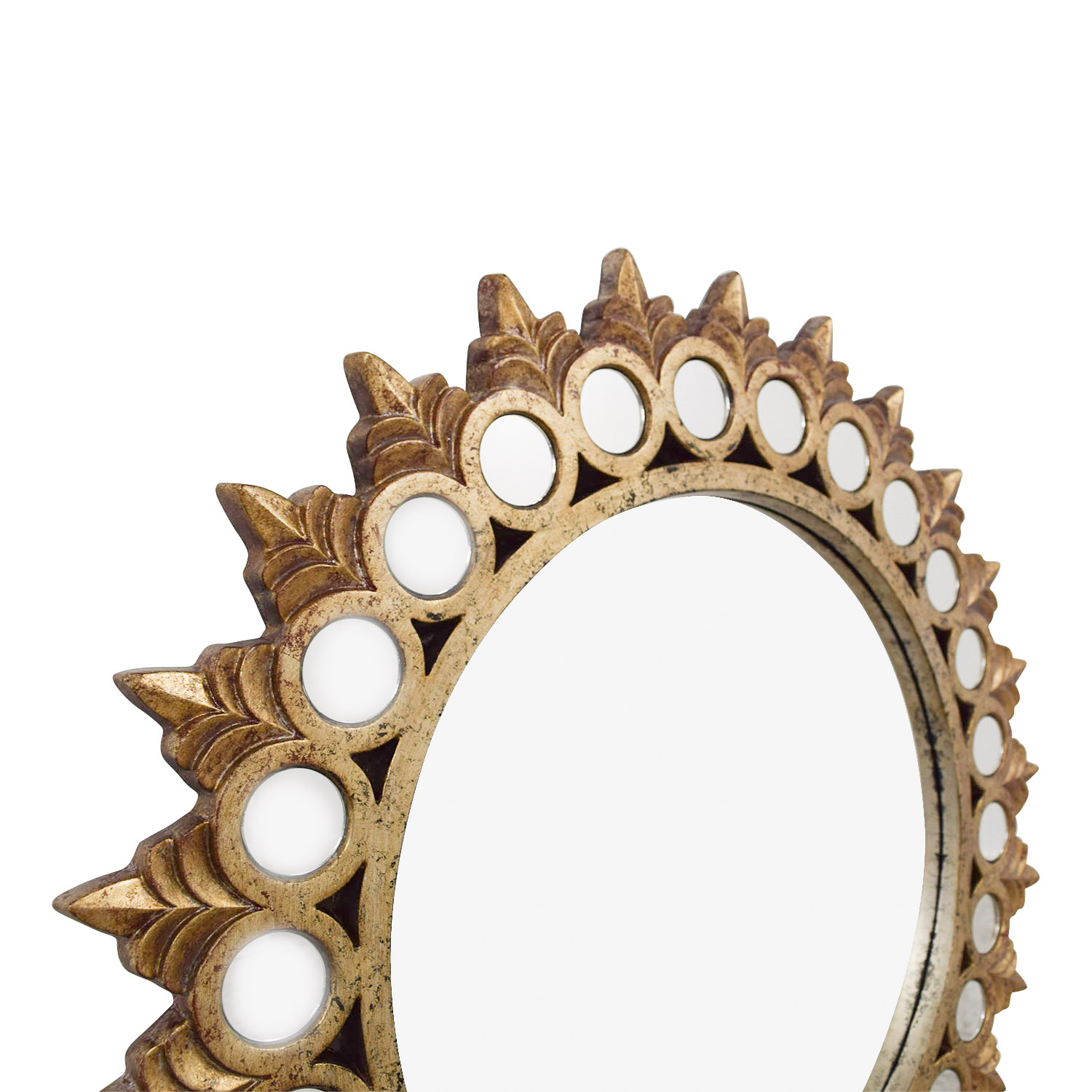 Raymour Flanigan Distressed Gold Mirrored Frame Round Mirror