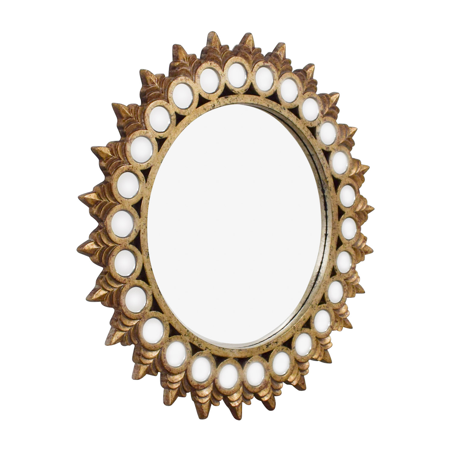 Raymour & Flanigan Raymour & Flanigan Distressed Gold Mirrored Frame Round Mirror for sale