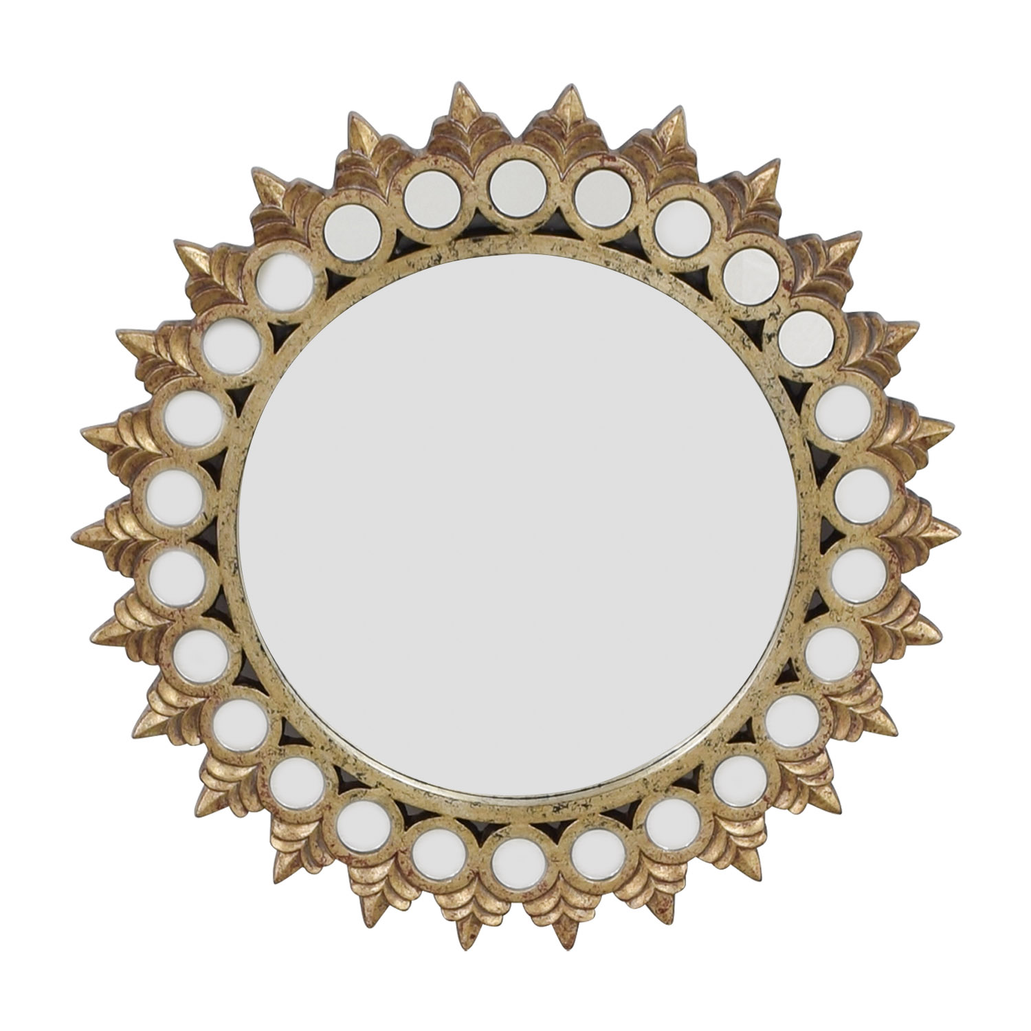 Raymour & Flanigan Distressed Gold Mirrored Frame Round Mirror / Mirrors