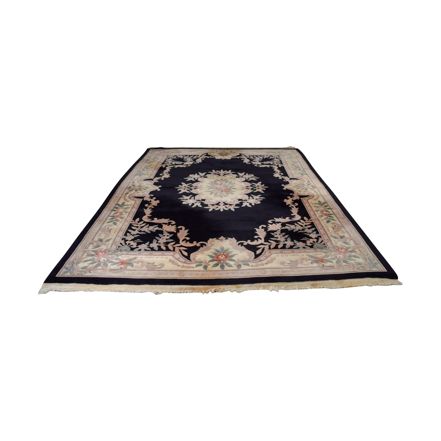 Black Oriental Multi-Colored Floral Rug / Decor