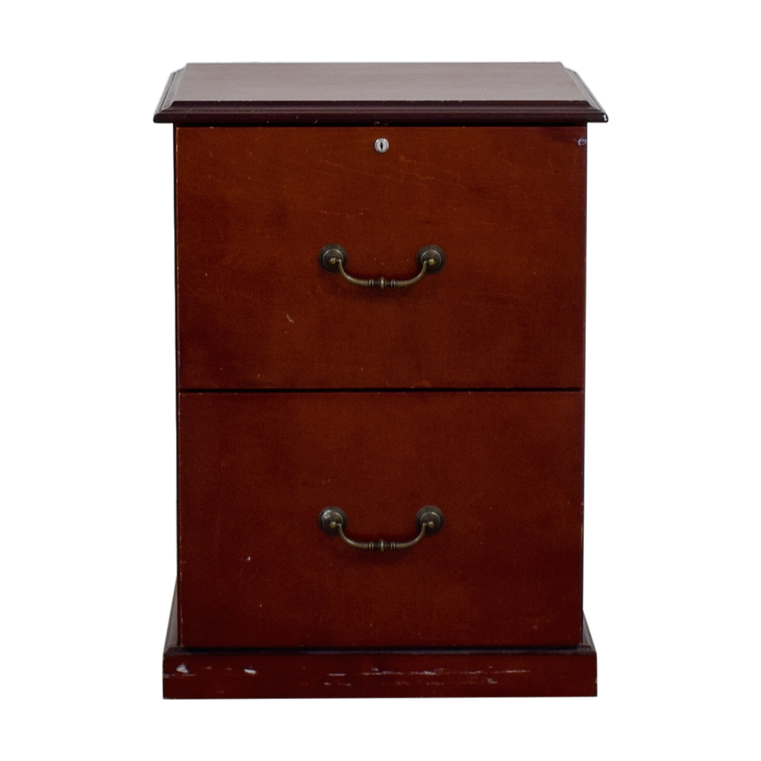Cherry Veneer Two-Drawer Office Cabinet second hand