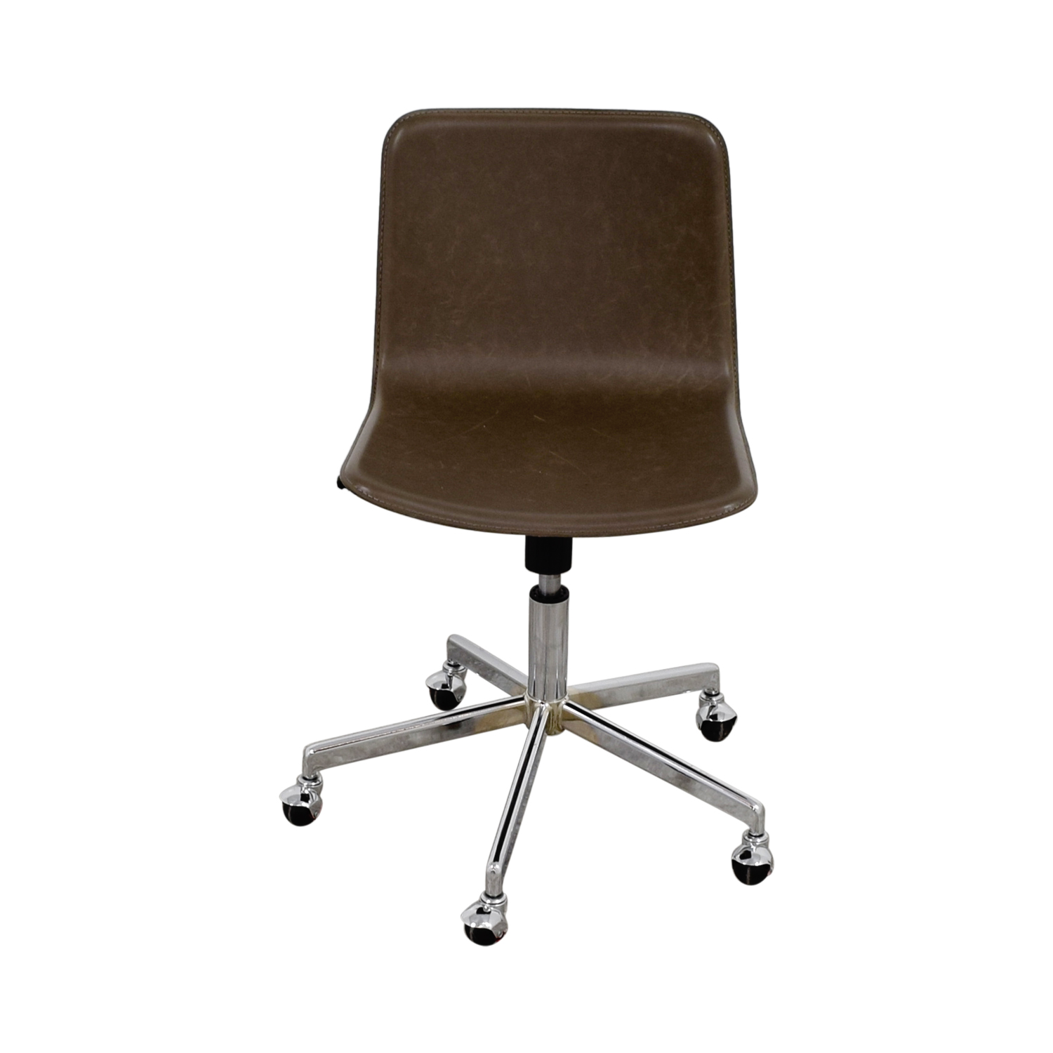 83% OFF - CB2 CB2 Grey Leather Adjustable Office Chair on Castors ...