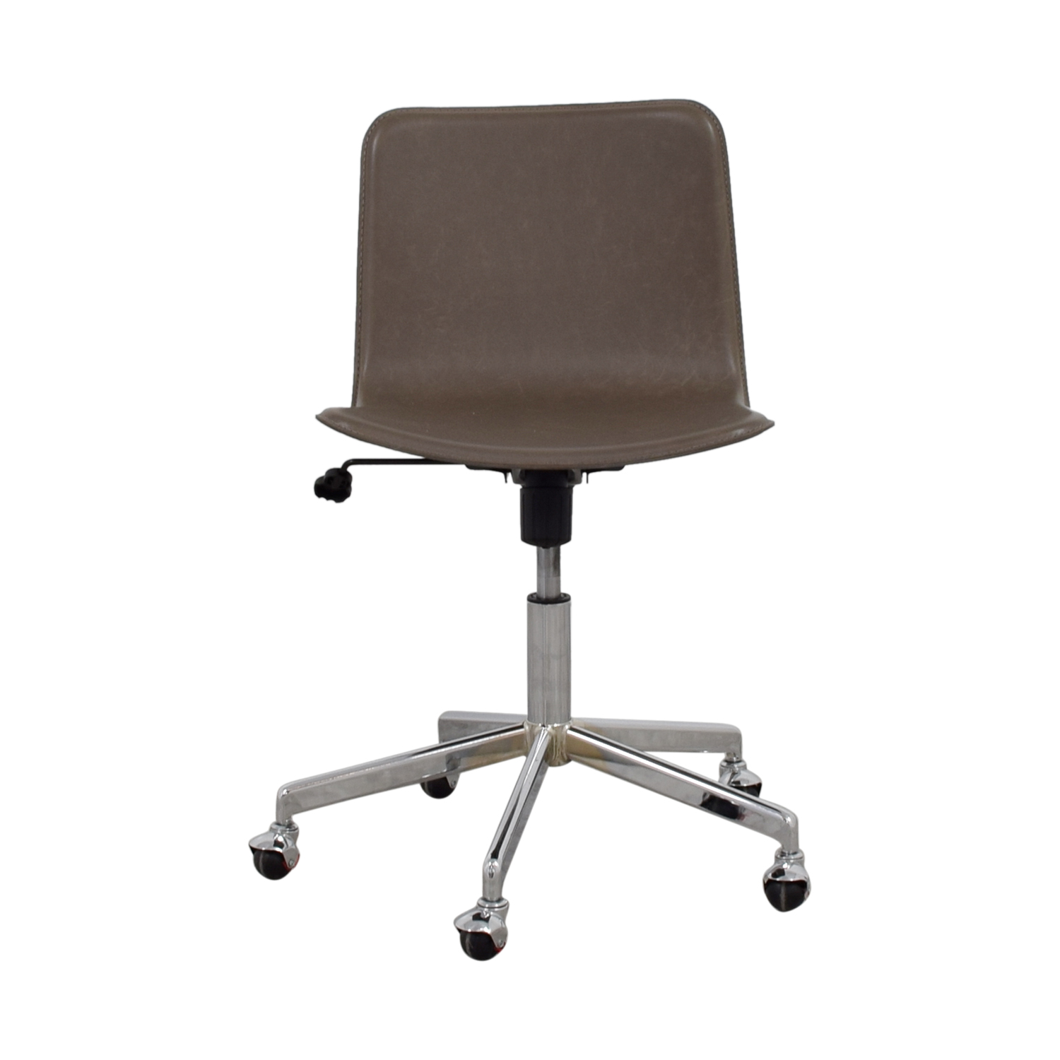 CB2 Grey Leather Adjustable Office Chair on Castors / Chairs