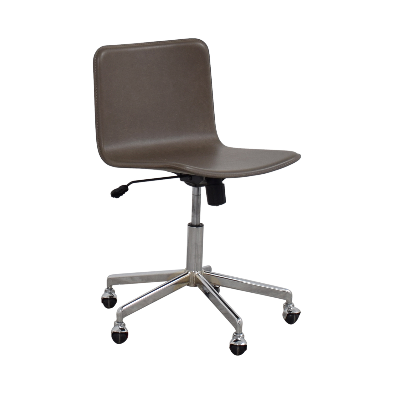 58 OFF CB2 CB2 Grey Leather Adjustable Office Chair on Castors