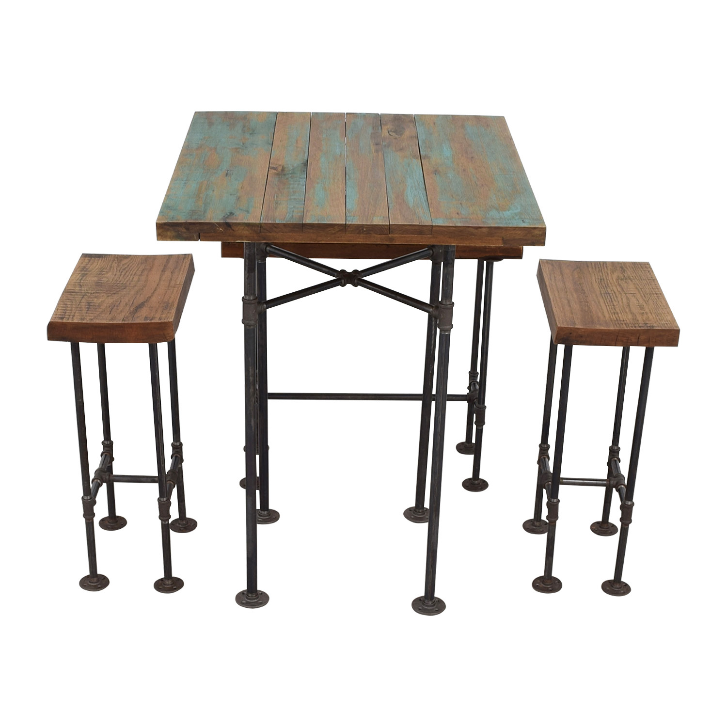 A Little of India A Little of India Industrial Reclaimed Wood Counter Table and Stools for sale