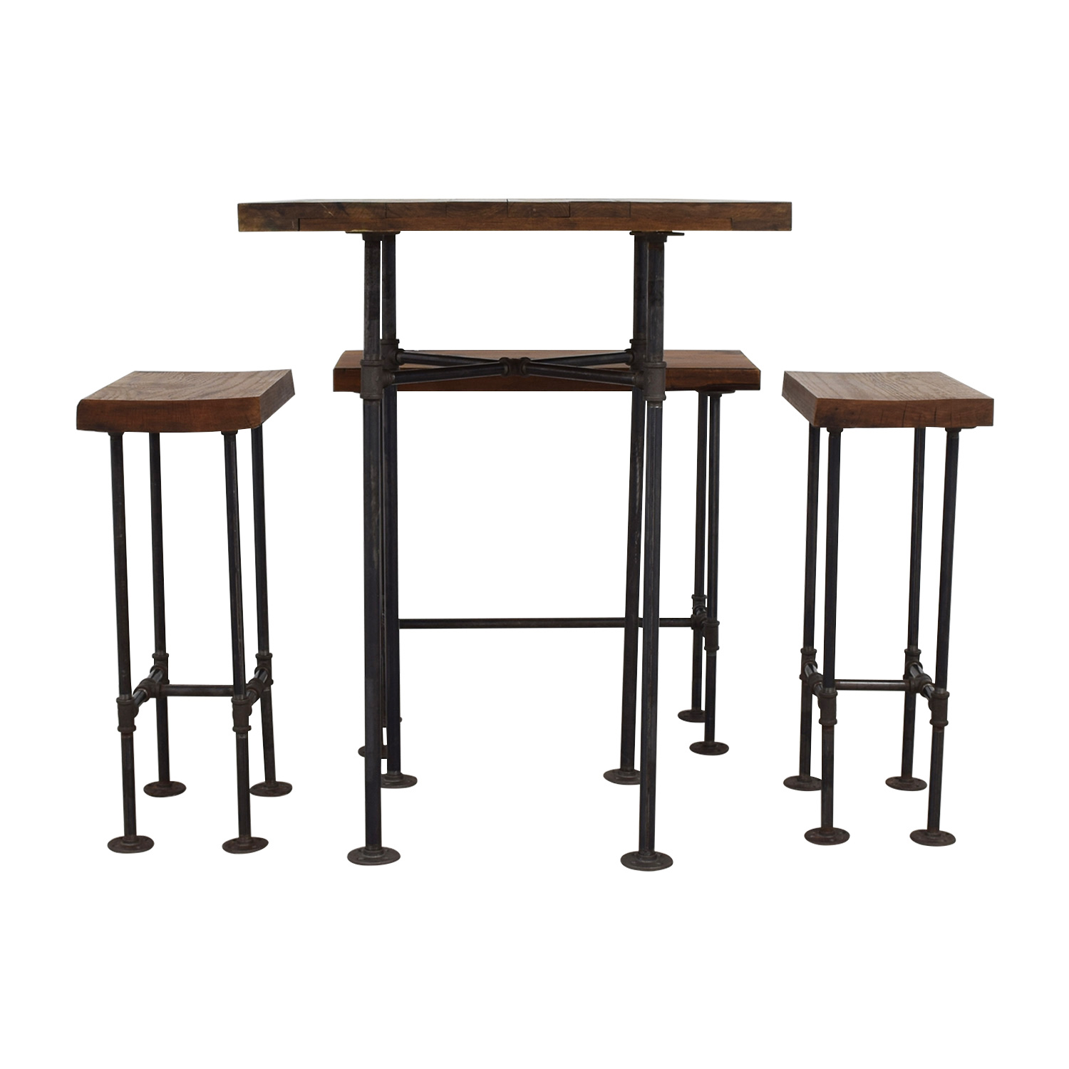 A Little of India A Little of India Industrial Reclaimed Wood Counter Table and Stools Tables