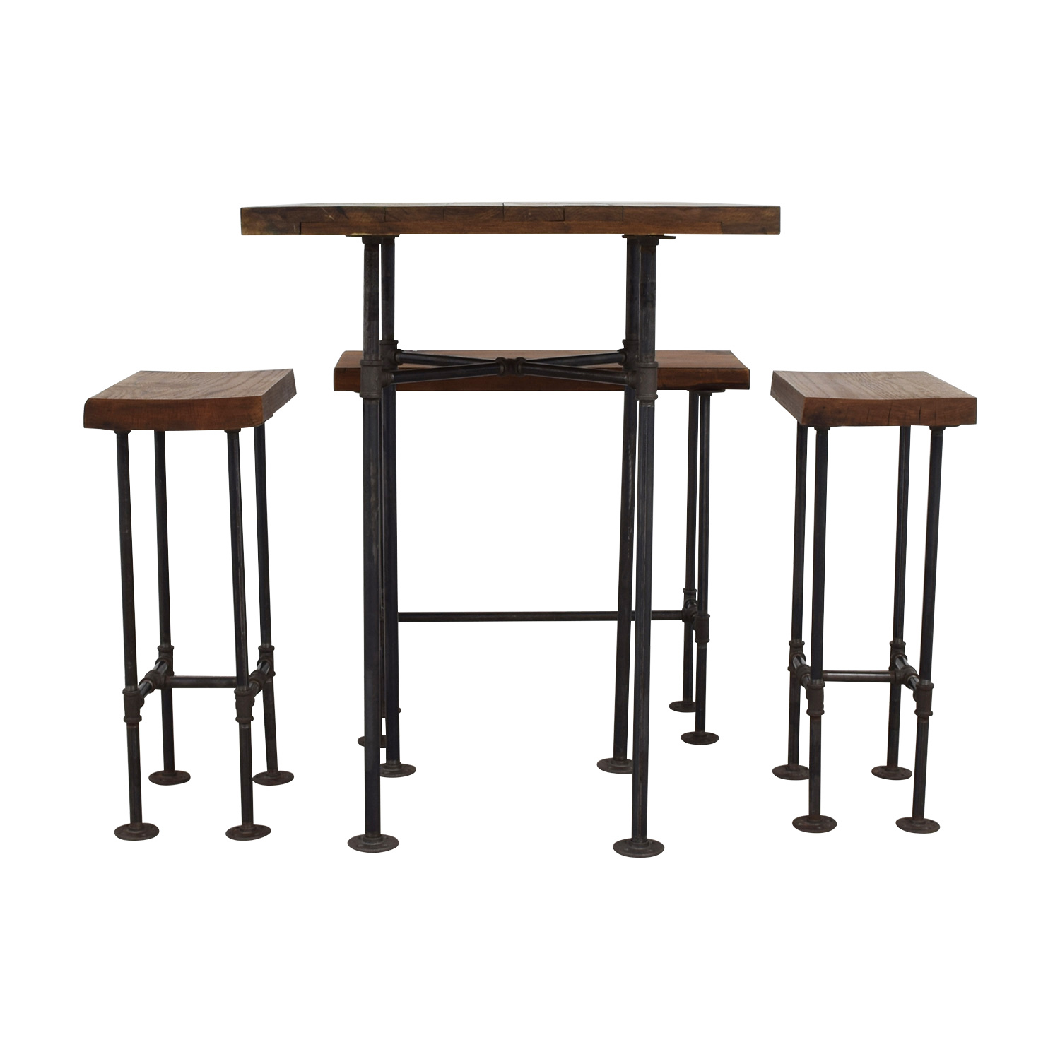 shop A Little of India A Little of India Industrial Reclaimed Wood Counter Table and Stools online