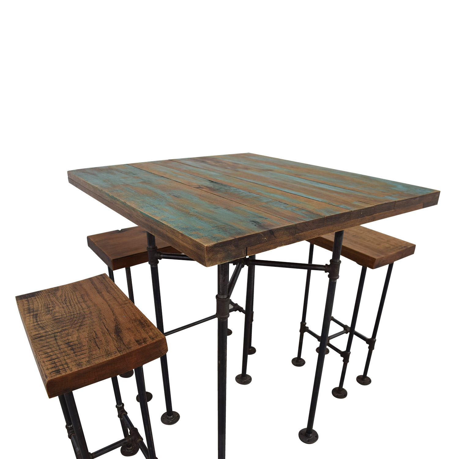 A Little of India A Little of India Industrial Reclaimed Wood Counter Table and Stools nj