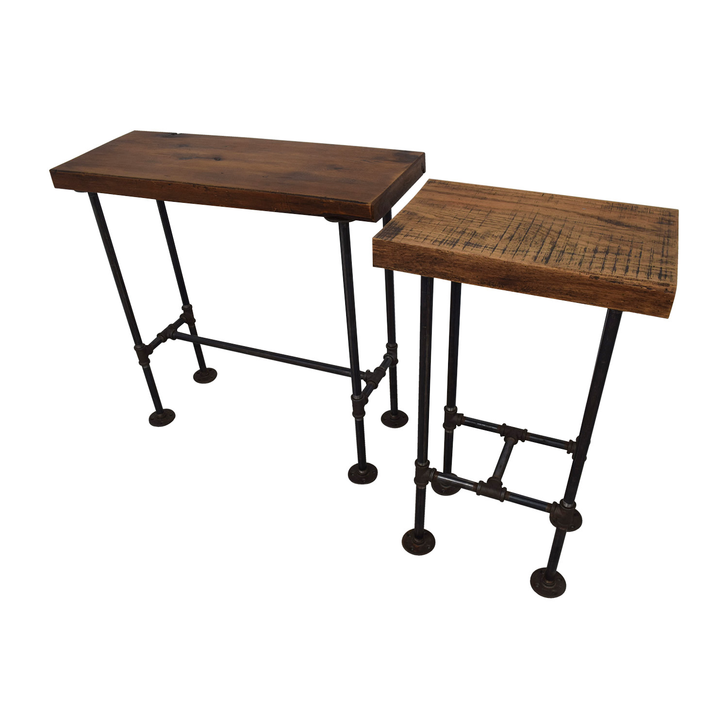 A Little of India A Little of India Industrial Reclaimed Wood Counter Table and Stools on sale