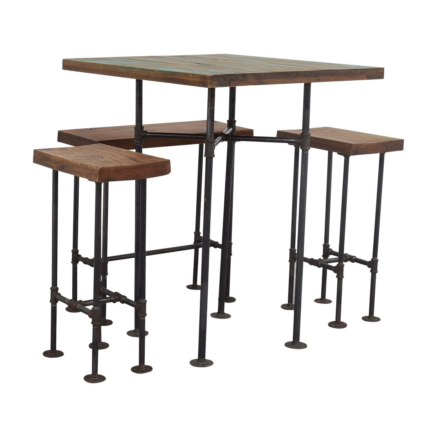 A Little of India Industrial Reclaimed Wood Counter Table and Stools / Tables