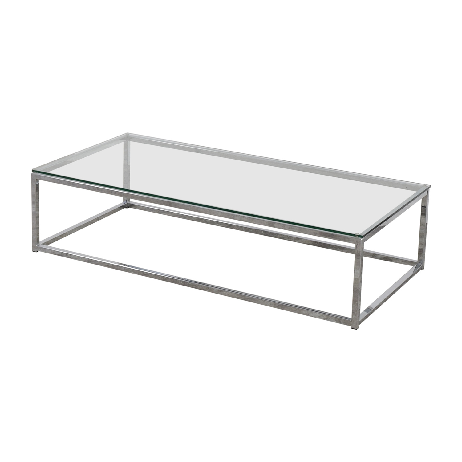 Ottoman Coffee Table Cb2: CB2 CB2 Glass And Chrome Coffee Table / Tables