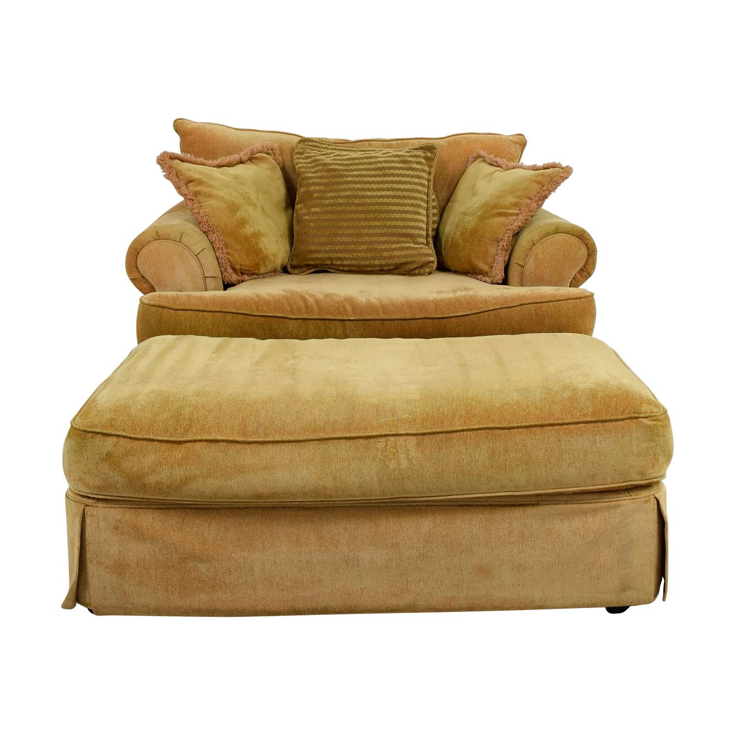 Klaussner Klaussner Yellow Arm Chair and Ottoman on sale