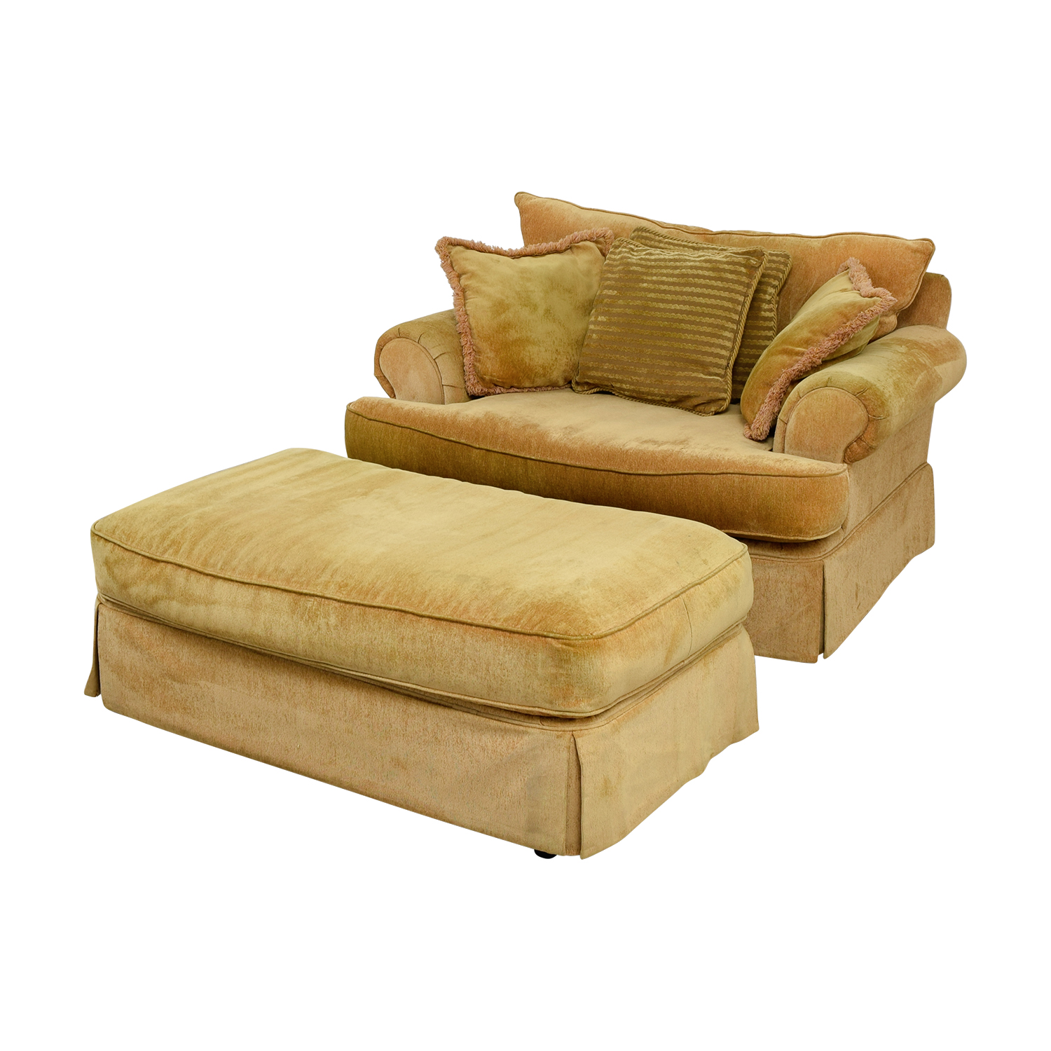 Klaussner Yellow Arm Chair And Ottoman Accent Chairs
