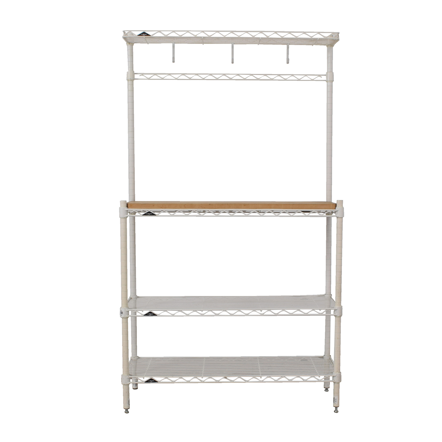 shop Elfa White and Natural Wood Bakers Rack Elfa Utility Tables